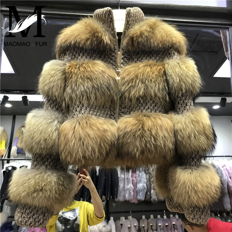 Енот Меховая куртка Для женщин зимние натуральный мех пальто Высокое качество натуральный Шуба енотовая