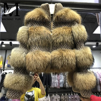 Raccoon Fur Jacket Women Winter Real Fur Coat High Quality Natural Raccoon Fur Overcoat