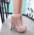 Plus size 34 to 43 women high quality autumn and winter boots with tassle female casual rivet pink boot lady leisure shoes botas
