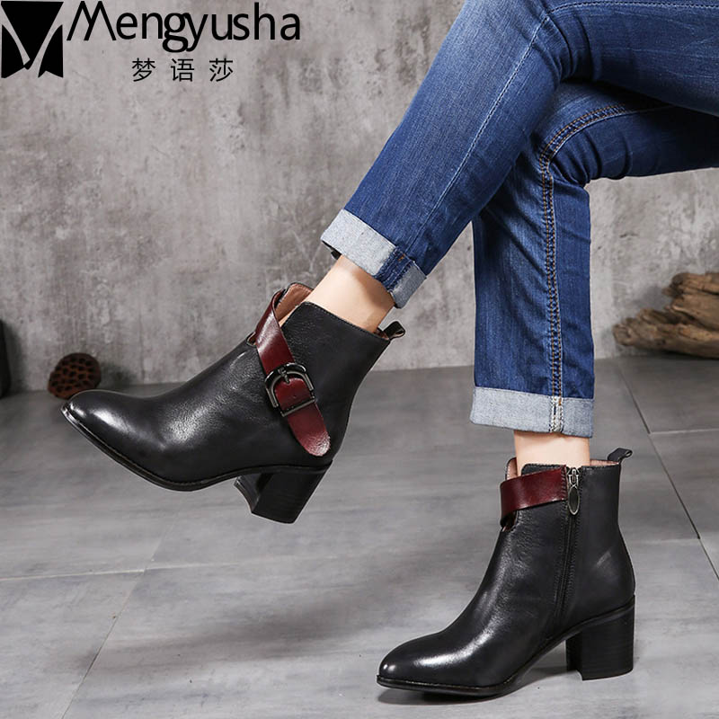 Top Quality Women Boots Genuine Leather Shoes Handmade Vintage Fashion Ankle Boots Women Autumn Winter Buckle Mid Heels Boots handmade genuine leather boots vintage national trend women boots twiddlefish platform flat heels boots women shoes