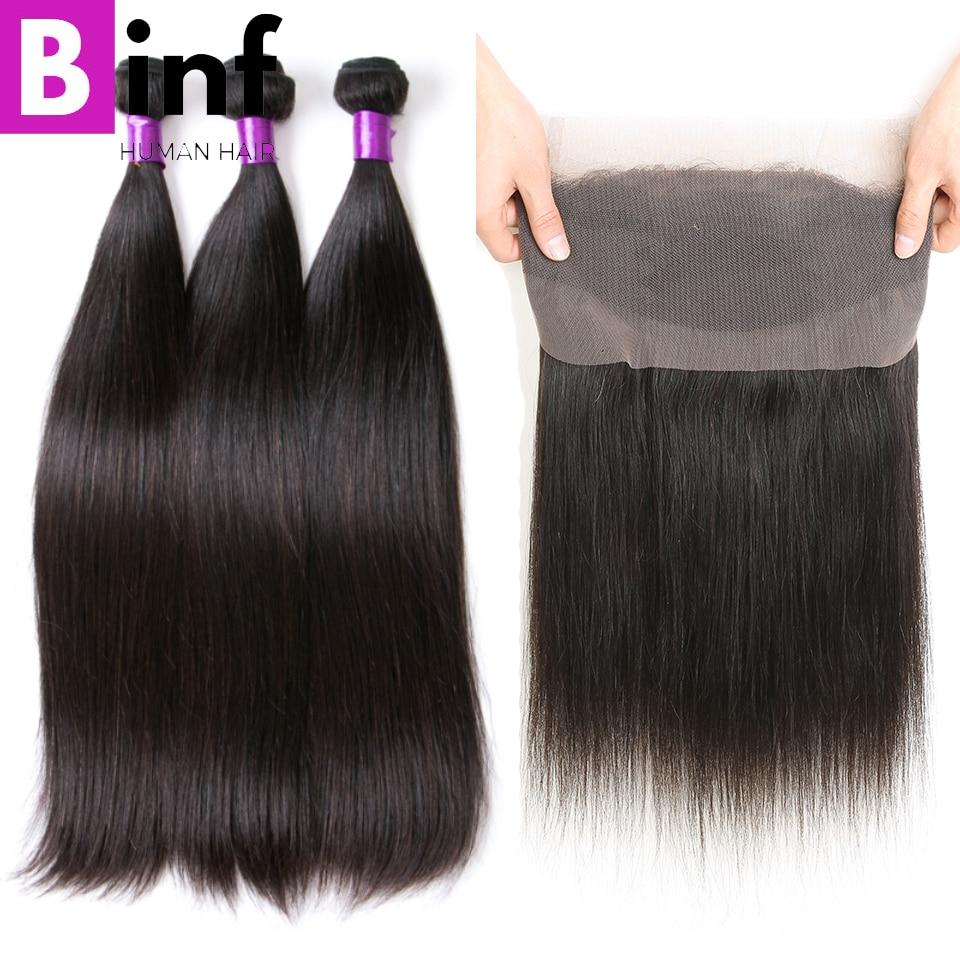 BINF Hair Remy Hair 3PCS Indian Straight Hair Bundles With 360 Frontal Closure 100 Human Hair