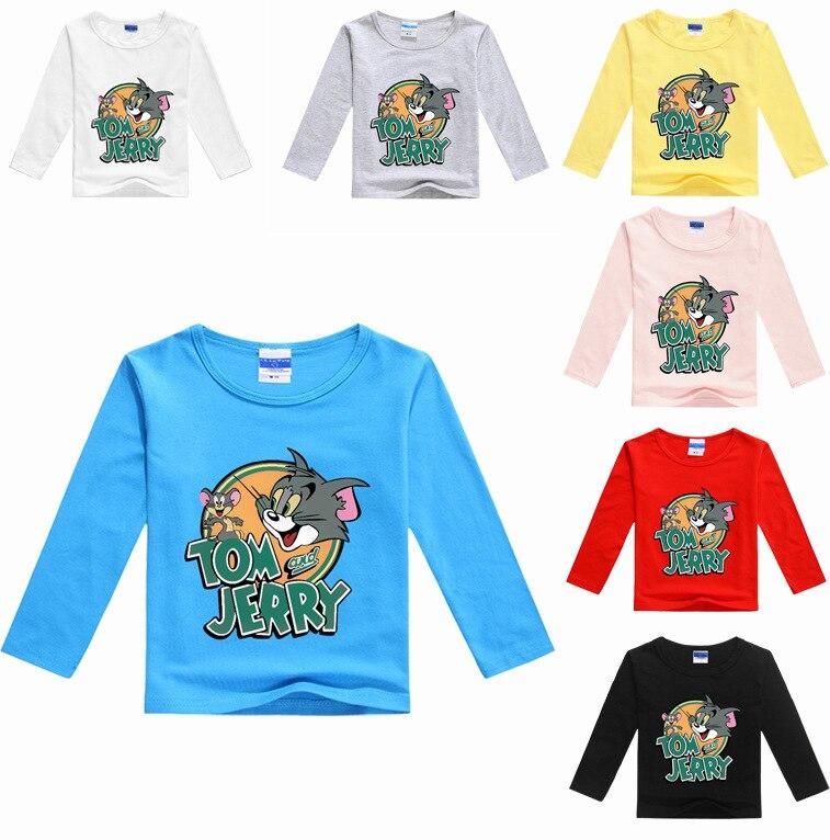 2017 New Spring Baby Boys Clothing Tom and Jerry Clothes Boys Tops Long Sleeve Kids T-shirts Nununu Girls Shirts Fashion Nova