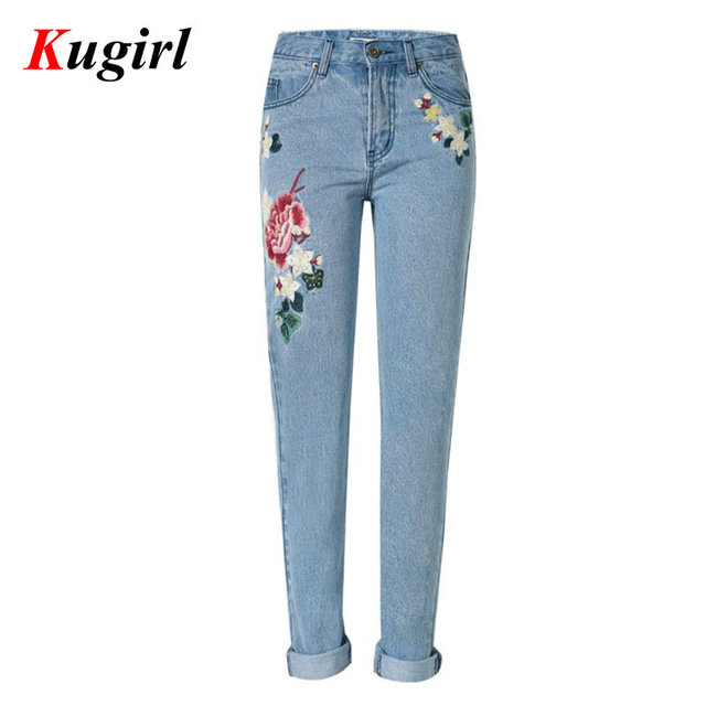 New European Fashion Roses 3D Embroidery jeans for women Straight Loose jeans women Denim Pants Rural style jeans women