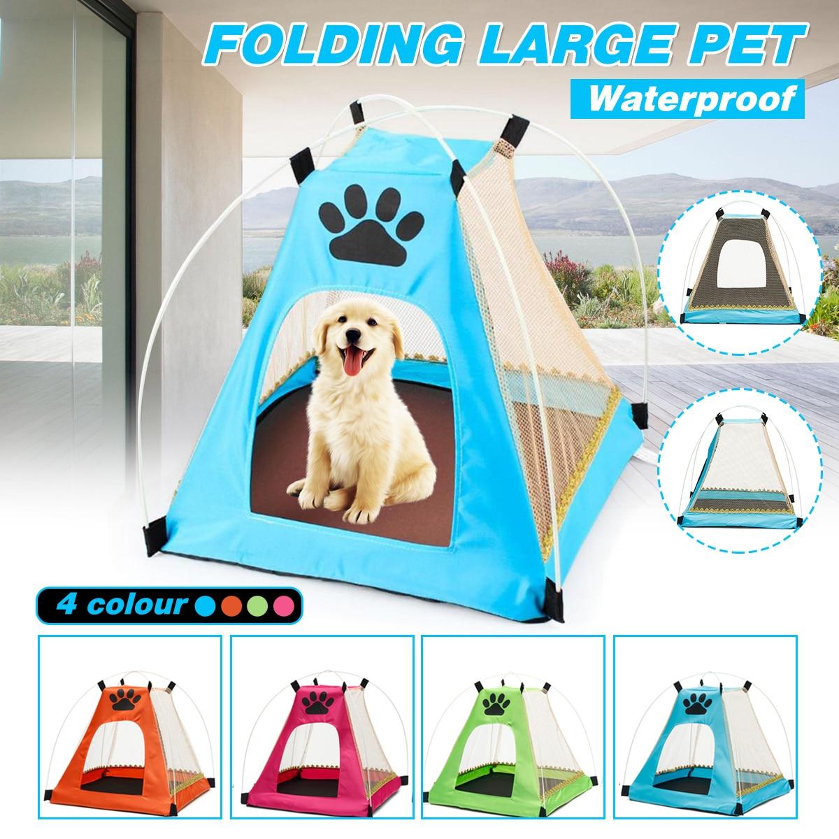 Animales Impermeables al Aire Libre Refugio Wigwam Viajes Camping Jaula Para Mascotas en Entrada Puerta Tama/ño 7.8*9.4 inch Tienda Plegable Port/átil Para Perros Casa de Gato Casa con Cama