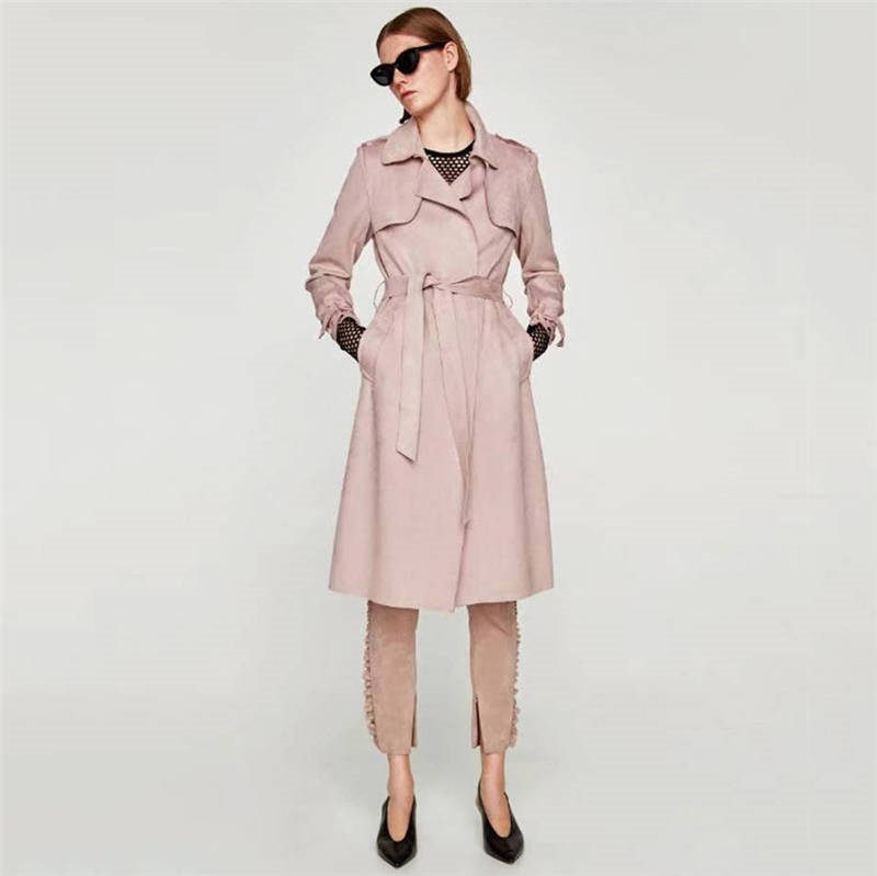 High Quality 2019 Suede Long   Trench   Coat Women Abrigo Mujer Long Elegant Outwear Female Overcoat Slim Pink Suede Cardigan   Trench