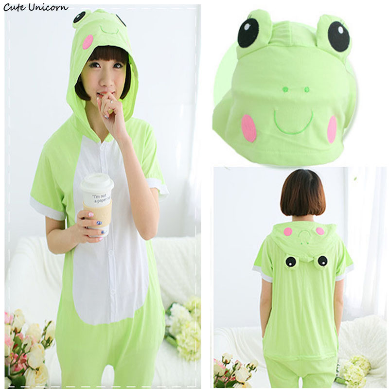 Cute Unicorn green Frog Short Sleeve Animal Pajamas Summer Unisex Adult Cosplay Pijamas Cartoon Onesies ladies homewear Pajama