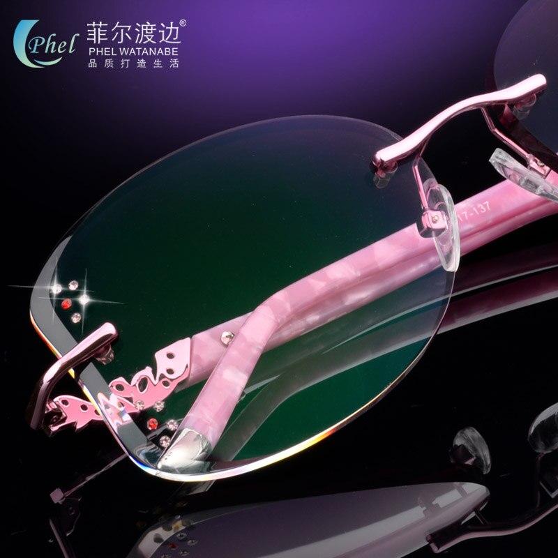 Óculos, grande caixa de óculos de lente, ultra-leve óculos sem aro de  diamante de corte, sem aro prescrição personalizada óculos de sol UV400 105 cfcf09a3a6