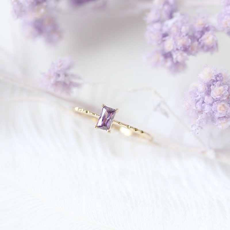 Tisonliz Dainty Purple Rectangle Crystal Rings For Women Girls Simple Wedding Engagement Lovers Finger Rings Fashion Jewelry