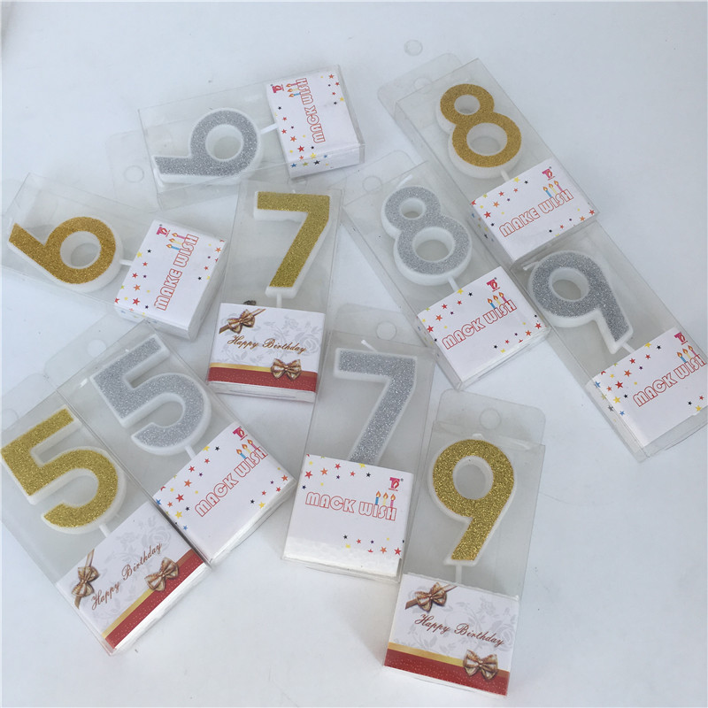 Birthday Number 1 2 3 4 5 6 7 8 9 Candle Gold Silver Cake Cupcake Topper Party Birthday Cake Candle Baby Show Decoration Supply