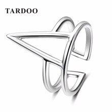 Tardoo Moda Auténtica plata de Ley 925 Anillos de Plata para Las Mujeres Triángulo Punk & Sport Style Brazalete Ajustable Anillos de Joyería Fina