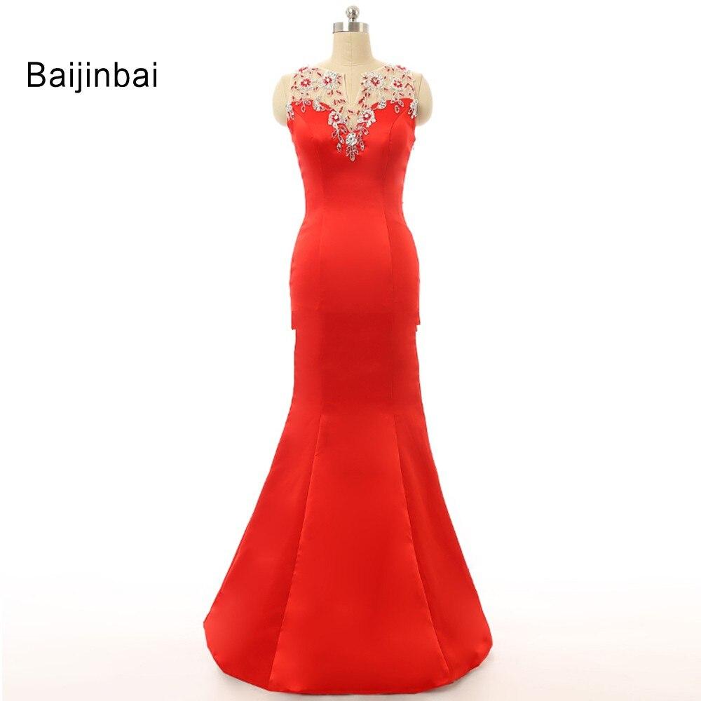 30360db122 Baijinbai Mody Elegancki Powrót Przepuszczalność Czerwony Tafta Haft  Syrenka Vestido De Festa Balu Sukni Wieczór Party DressS100805