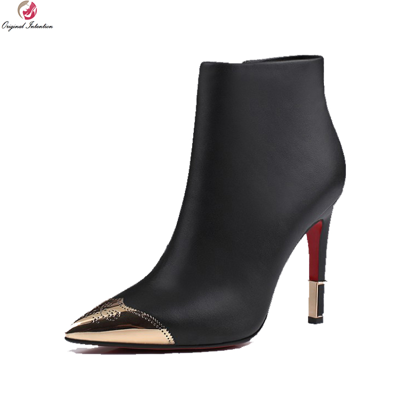 Original Intention High-quality Women Ankle Boots Cow Leather Pointed Toe Thin Heels Boots Black Nude Shoes Woman US Size 3-9.5 high quality women ankle boots nice pointed toe square heels beautiful black red leopard shoes woman us size 3 5 10 5