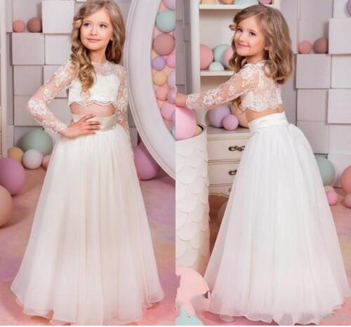Two Pieces Long Flower Girls Dresses For Weddings Jewel Neck Long Sleeves Princess Birthday Dress Children Kids Gown White Lace white slit design round neck long sleeves crop top