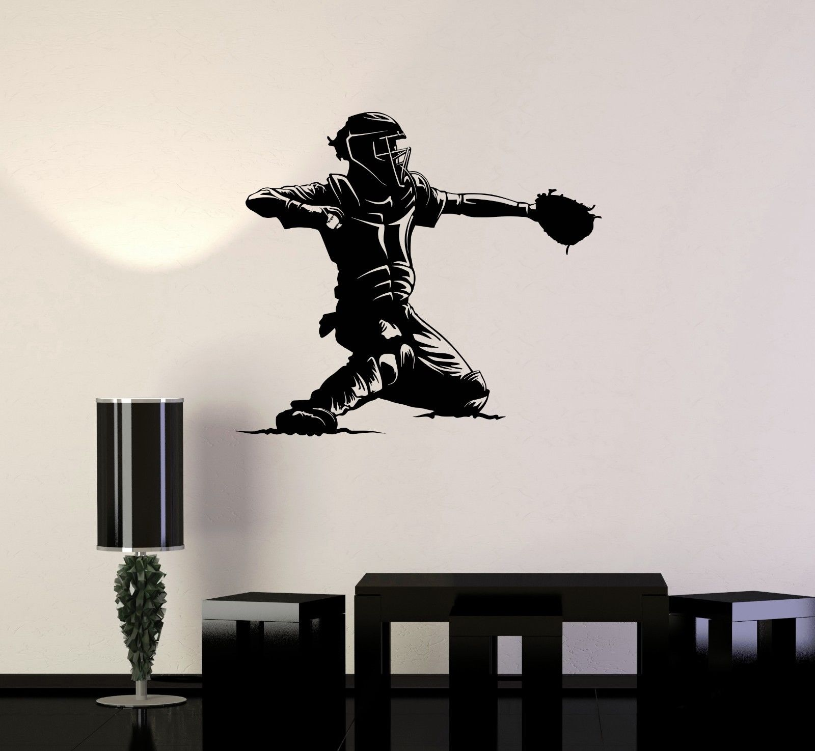 20416 New Vinyl Decal Baseball Catcher Player Sports Man Fan Decor Wall Stickers Free Shipping