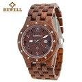 2016 BEWELL Wooden Watch Men Wood Auto Date Wristwatch Men's Quartz Watch Top Brand Luxury Watches Men Clock with Paper Box 109A