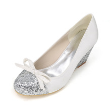 Round glitter toe and wedges woman satin patched glitter shoes medium heel bow dress party prom shoes white ivory silver grey