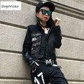 Кисточкой джинсовая куртка feminino vintage черные джинсовые карманы пальто панк turn down воротник молнии женщины clothing LT365