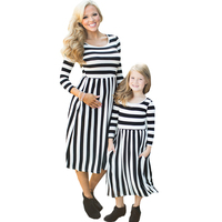 Mother Daughter Dresses Family Matching Clothes Autumn 2017 Brand Striped Long Sleeve Mom And Me Dress
