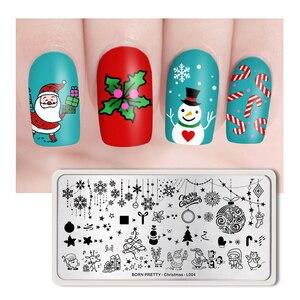 Image 5 - GEBOREN ZIEMLICH Weihnachten Nagel Stanzen Platten Polar Bär Rechteck Nail art Druck Stempel Vorlagen Schablone Werkzeuge Nagel Design