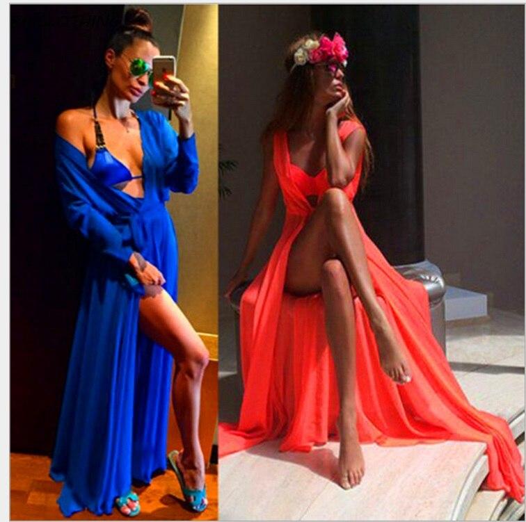 IASKY Beach Cover Up Sexy Robe Plage Beach Long Dress Pareos Women Beach Tunic Sarong Bathing Suit Bikini Cover Up