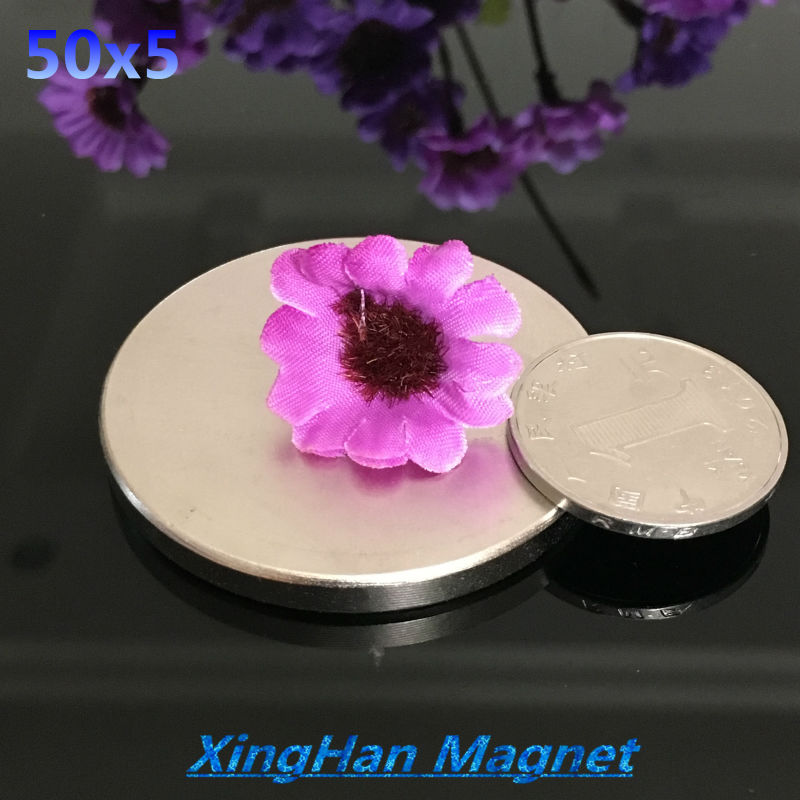 2pcs Neodymium magnet 50x5 Rare Earth small Strong Round permanent 50*5 mm fridge Electromagnet NdFeB nickle magnetic DISC earth 2 vol 5