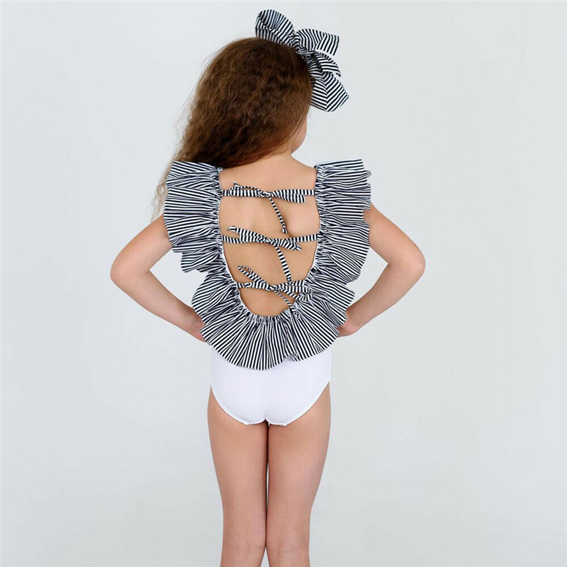 Toddler Kids Baby Girl Swimsuit Romper Ruffle Lace Up Stripe Swimwear One Piece Monikini Cross Bandage Backless Beachwear