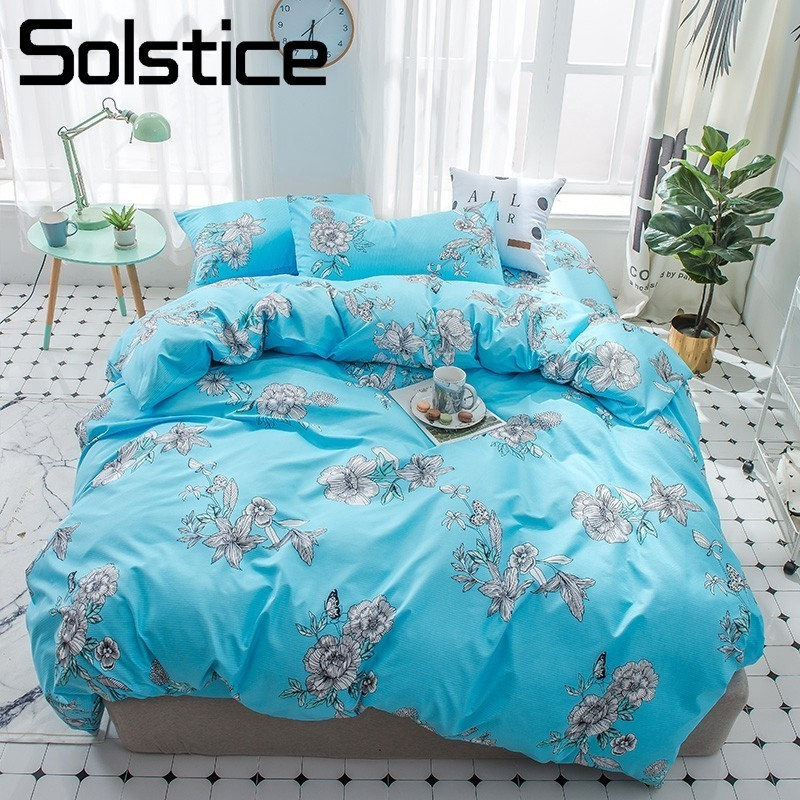 Solstice Home Textile Daisy Blue Duvet Quilt Cover Bed Sheets Pillowcase Girl Woman Teen Adult Bedding Linens Sets Single Couple