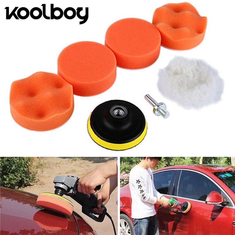 6Pcs 100mm Buffing Pad Set Thread 3inch Auto Car Polishing pad Kit for Car Polisher + Drill Adaptor M10 Power Tools accessories 6pcs power drill