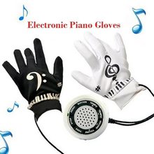 Funny (white+black)Musical Piano Glove Fingertips Gadget Office Game Set Children Kids Learning Educational Toys For Birthday