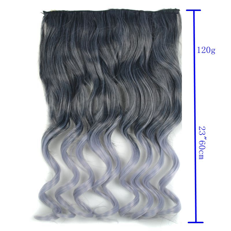Synthetic Clip In Hair Extension Hair 60cm 120g Natural Long Wavy
