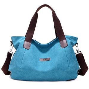 Image 4 - KVKY Large Capacity Womens Canvas Handbag Casual Canvas Shoulder Bags Vintage Crossbody Messenger Bags Female Tote Bags Trapeze