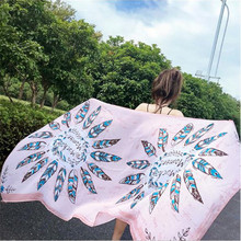 LEAYH Brand Oversized Feather Printed Sunscreen Scarf Shawls For Women Beach Silk Scarves Female Fashion 180*90cm Head Wraps