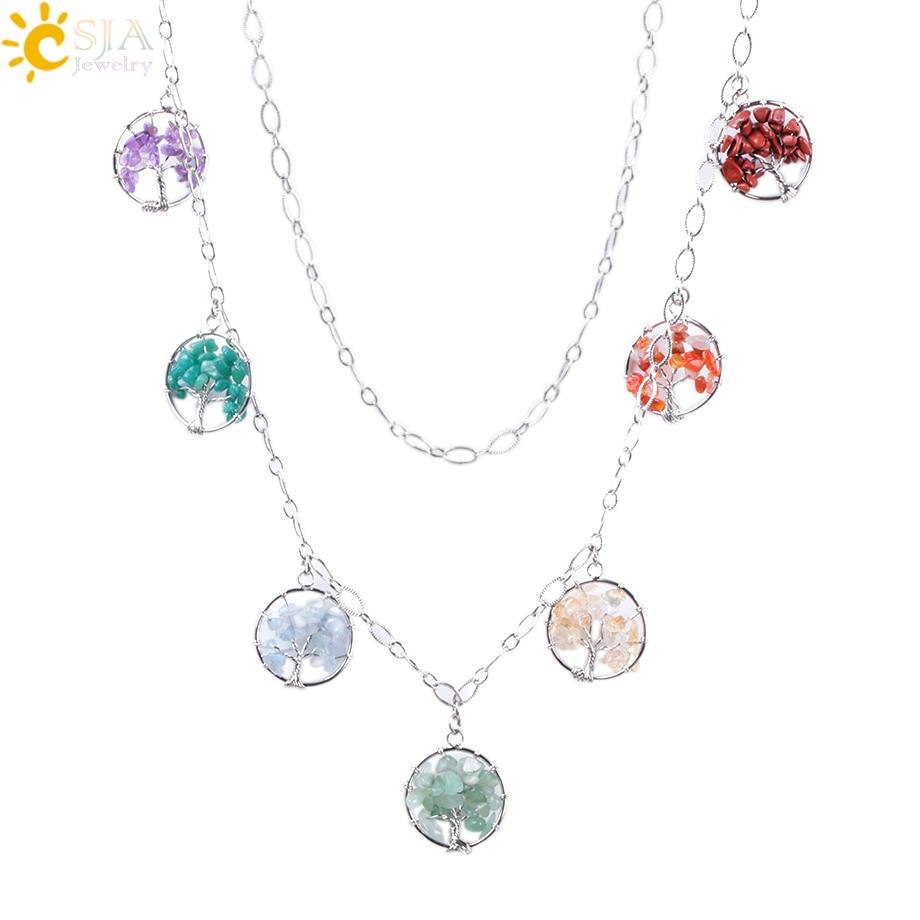 CSJA Reiki Maxi Bohemian Necklaces 7 Chakra Wisdom Tree of Life Pendants Natural Chip Gem Crystal Stone Ethnic Jewelry Gift F002 bohemian asymmetrical ethnic print maxi skirt for women