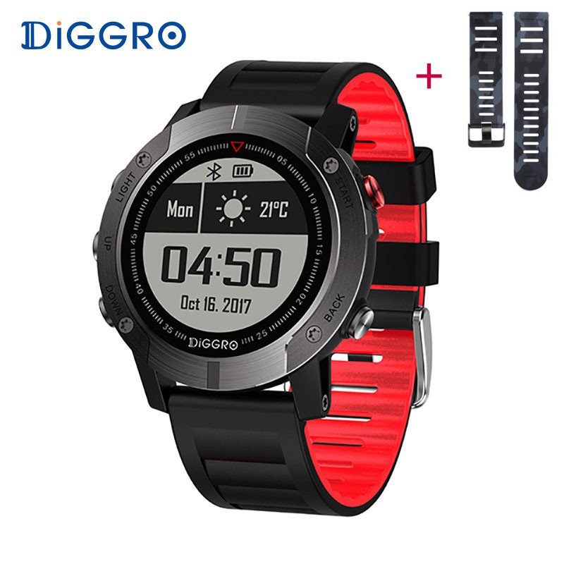 Diggro DI08 GPS Smart Watch IP68 Waterproof Fitness Tracker Heart Rate Monitor Smartwatch Multiple Sport Modes for Android IOS fs08 gps smart watch mtk2503 ip68 waterproof bluetooth 4 0 heart rate fitness tracker multi mode sports monitoring smartwatch