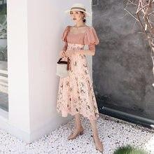 Женское винтажное шифоновое платье yigelila длинное приталенное