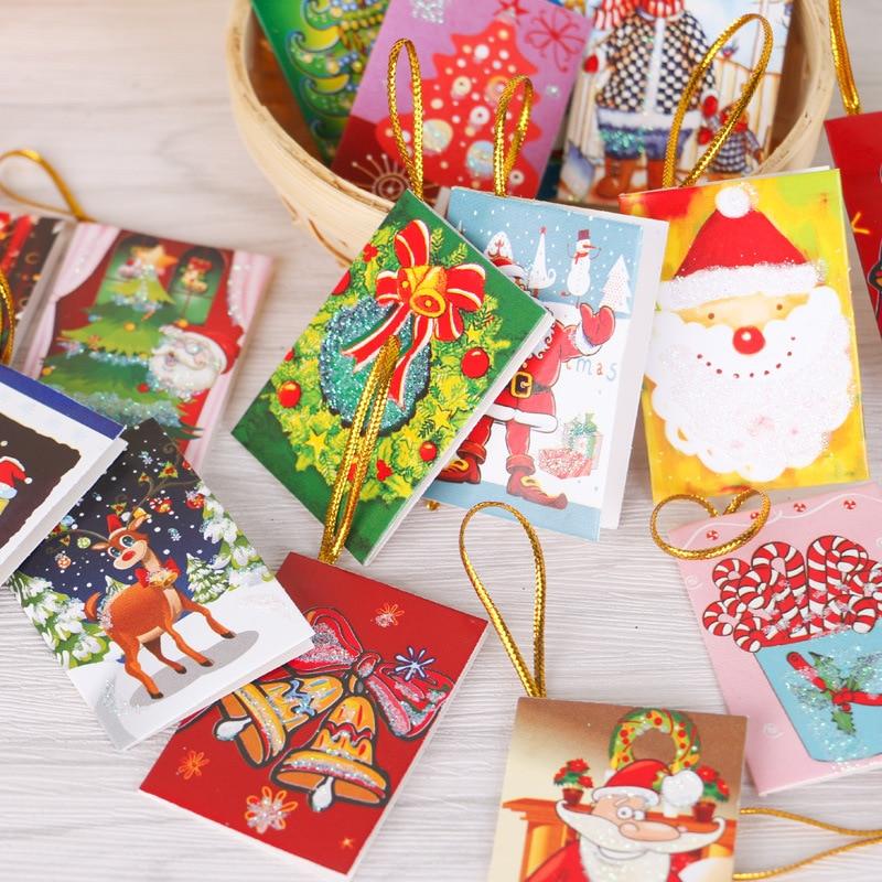 (50pcs/lot)Christmas Tree Hanging Card Mini Christmas Cards Christmas Decorations Creative Gifts