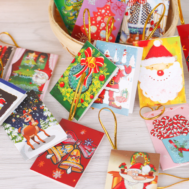 50pcslotchristmas tree hanging card mini christmas cards christmas decorations creative gifts