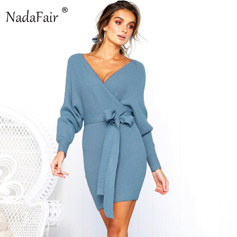 Women's Clothing Merry Pretty Women Sashes A-line Dress 2018 Autumn Long Sleeve O-neck Warm Knitted Dresses Female Voile Patchwork Sweater Dress