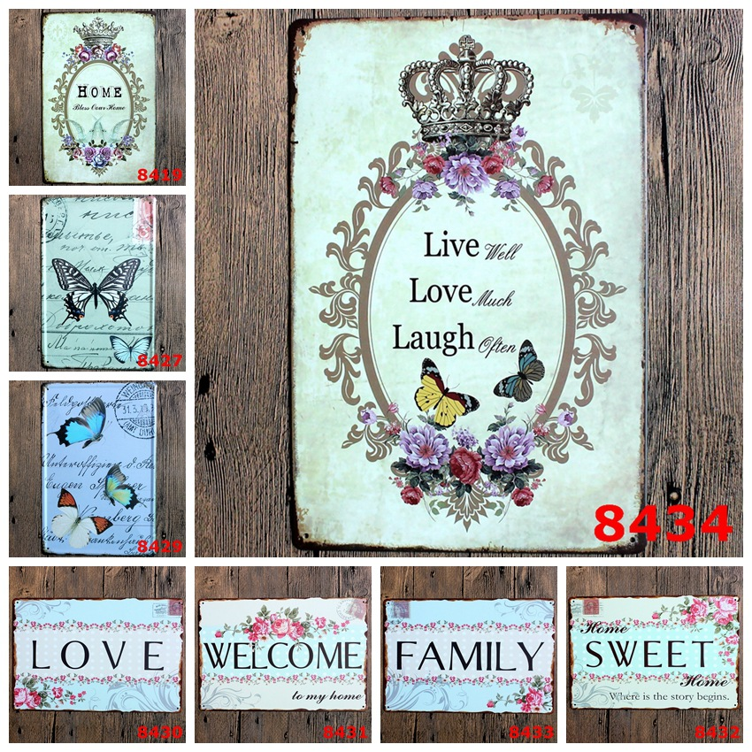 ZJY Vintage Home Decor Home Family Sweet Metal Tin Signs Tavern Shabby Chic Home Shop Retro Art Poster Plaque Decor