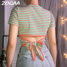 Womens Cotton Crop Top Summer Stripes T-Shirt Short Sleeve O-Neck Back Bows Sexy High Waist Slim Tee Camiseta Mujer
