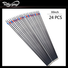 6/12/24PCS Mixed Carbon Arrow Length 30Inch Spine 550 Red Blue White Feather Recurve Bow / Compound Archery Hunting