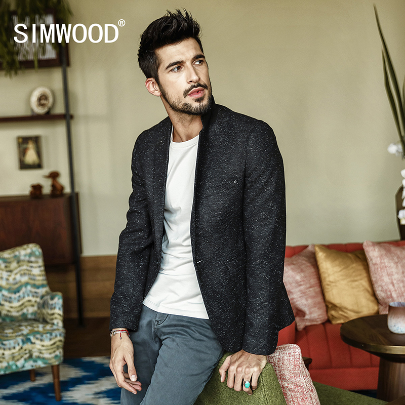 SIMWOOD 2018 Autumn Blazers New Fashion Casual Men Blazer Cotton Slim Suit Blazer Masculino Male Suits Jacket Blazer XZ017003