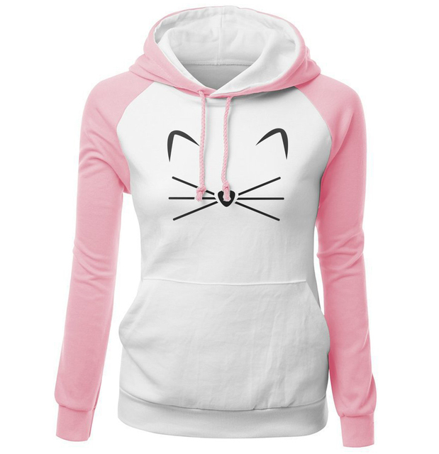 Kawaii Women's Hoodies 2018 Autumn Winter Raglan Sweatshirt For Female Cute Cat Print Pink Lady Sexy Fleece Hoody With Hat Kpop