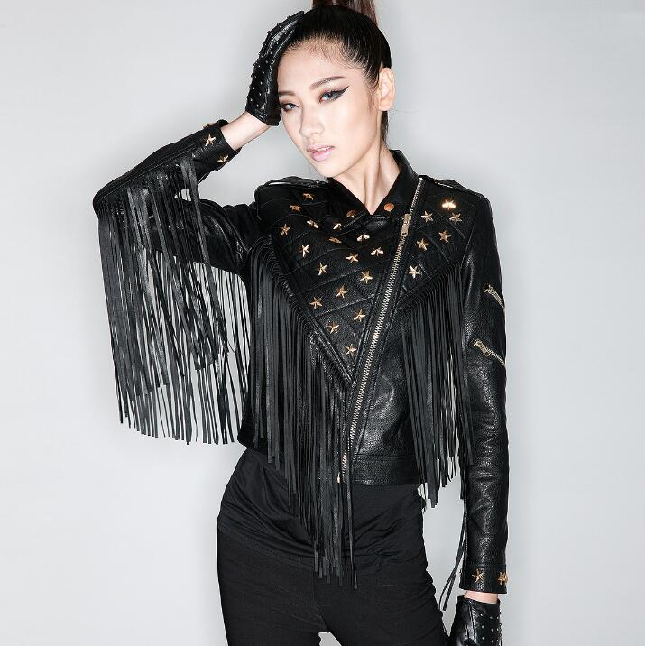 2019 Marque Vestes Femmes Faux Manteau Gland Femelle Autunm Hiver Mode Cuir Moto Nouvelle Survêtement Chaude Rivet Noir De dZqHdw