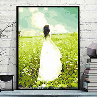 ART DRAW Frameless Pictures Paint By Numbers DIY Digital Canvas Oil Painting Wall Art Home Decoration