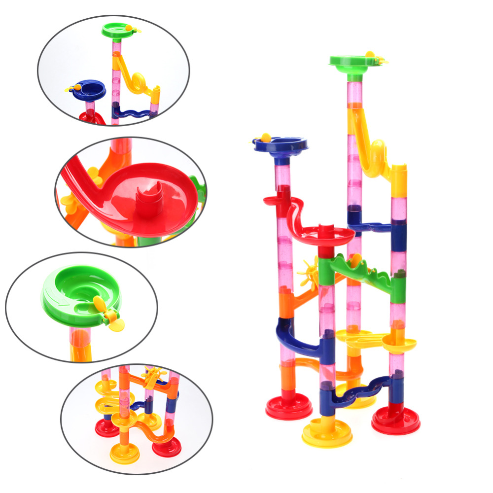 50pcs DIY Construction Marble Race Run Maze Balls Track Building Blocks Rolling Ball Sculpture Children Gift Educational Toys 3d magic maze ball 100 levels intellect ball rolling ball puzzle game brain teaser children learning educational toys or