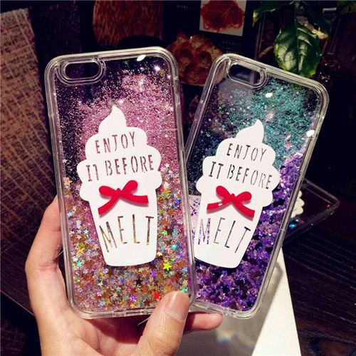 For Samsung Galaxy Note 4 Case Note 3 phone case luxury Liquid quicksand Sand Ice cream Bling shockproof Protective cover