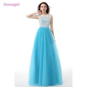 Женское вечернее платье Небесно-синего цвета, длинное платье-трапеция в пол из тюля с кружевом, 2019