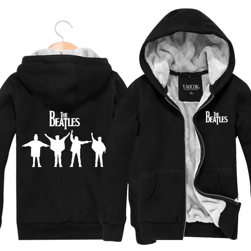 2017 New Coat Warm Zipper Cardigan Thickening Plus Velvet Jacket The Beatles Rock Band Hoodies And