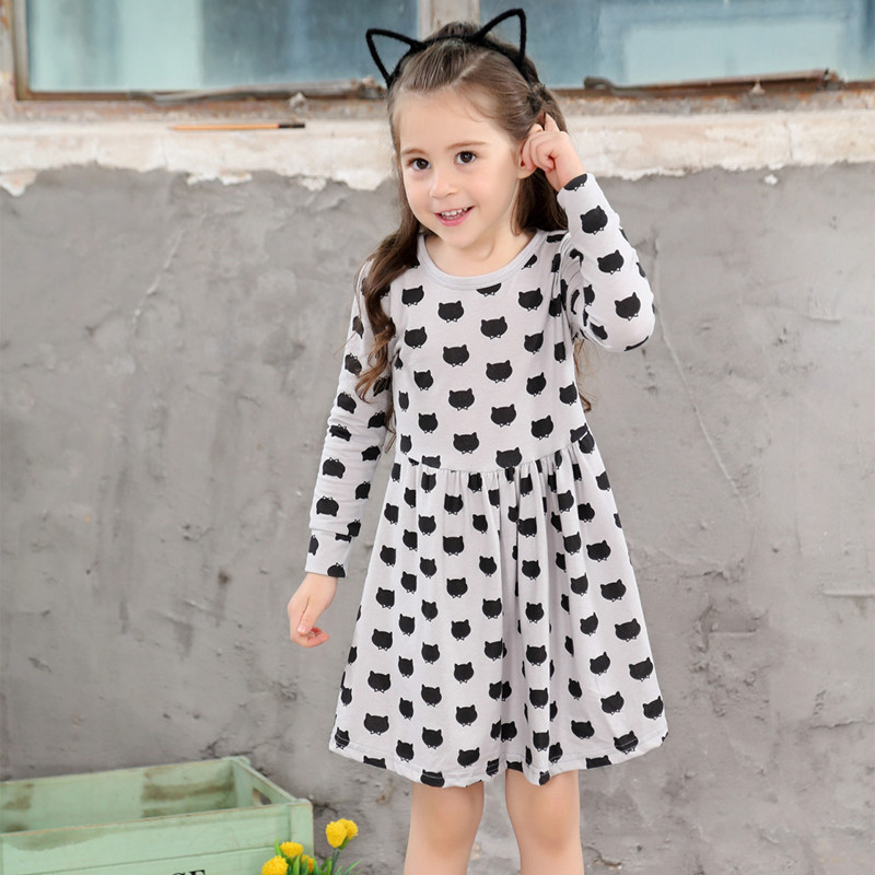 Girls-black-dress-cartoon-long-sleeved-black-stamp-elastic-pleated-Zou-comfortable-dress-stitching-girl-dress-Cartoon-cat-dress-4